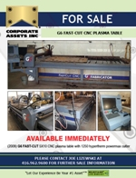 FOR IMMEDIATE SALE - G6 FAST-CUT CNC PLASMA TABLE